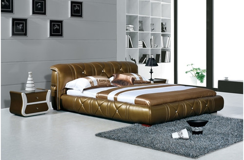 KING CAELAN DEVIN LEATHERETTE BED (A8207) - ASSORTED COLOURS