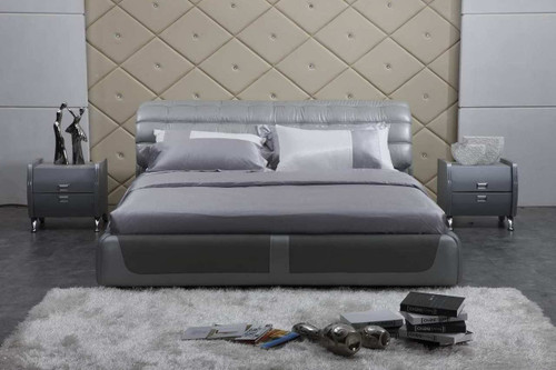 CEASAR QUEEN 3 PIECE BEDSIDE BEDROOM SUITE WITH (#124 BEDSIDES) - LEATHERETTE - ASSORTED COLOURS (WITH OPTIONAL UPGRADE FOR GAS LIFT UNDERBED STORAGE)