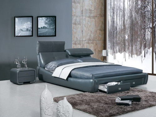 QUEEN DERRICK LEATHERETTE BED (A9110) WITH GAS LIFT UNDERBED STORAGE - ASSORTED COLOURS