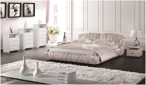 HUGO KING 3 PIECE BEDSIDE BEDROOM SUITE - LEATHERETTE - ASSORTED COLOURS (WITH OPTIONAL UPGRADE FOR GAS LIFT UNDERBED STORAGE)