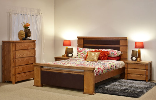COLORADO KING 4 PIECE TALLBOY BEDROOM SUITE - NATURAL