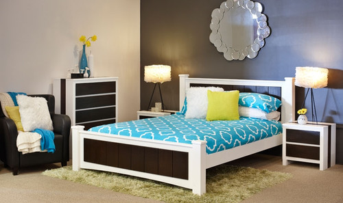 DOUBLE KINGSLEY BED - CONTRASTING WHITE & DISTRESSED BROWN