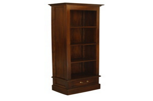 CENTRAL 1 DRAWER BOOKCASE (BC-001-PN) - 1800(H) x 560(W) - MAHOGANY OR CHOCOLATE