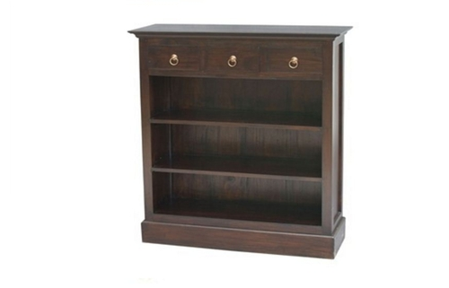 CENTRY 3 DRAWER BOOKCASE (BC-003-PN) - 1100(H) x 980(W) - MAHOGANY OR CHOCOLATE
