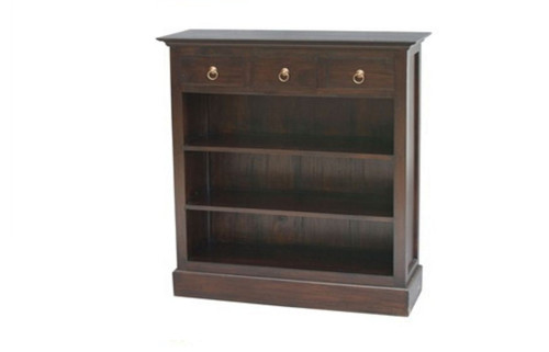 3 DRAWER BOOKCASE (BC-003-PN) - 1100(H) x 980(W) - MAHOGANY OR CHOCOLATE