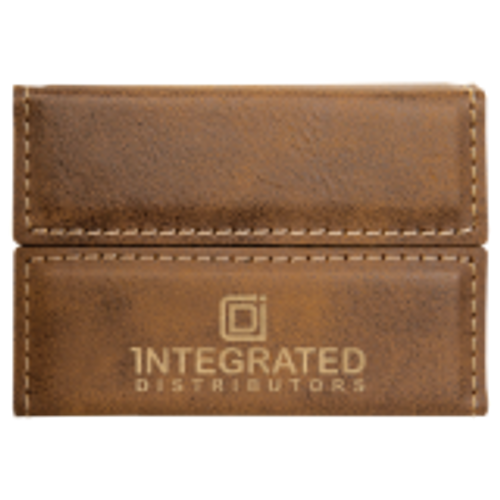 Rustic/Gold Laserable Leatherette Hard Business Card Holder