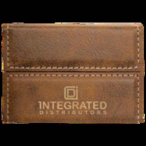 Rustic/Gold Laserable Leatherette Hard Business Card Holder