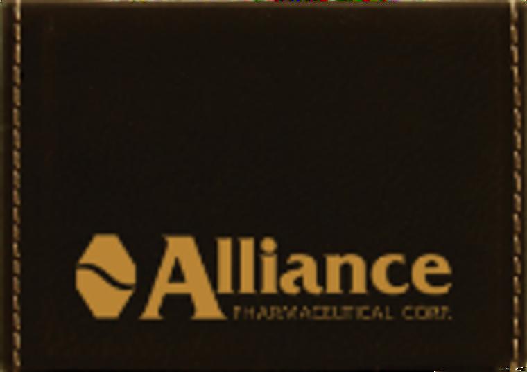 Black/Gold Laserable Leatherette Hard Business Card Holder