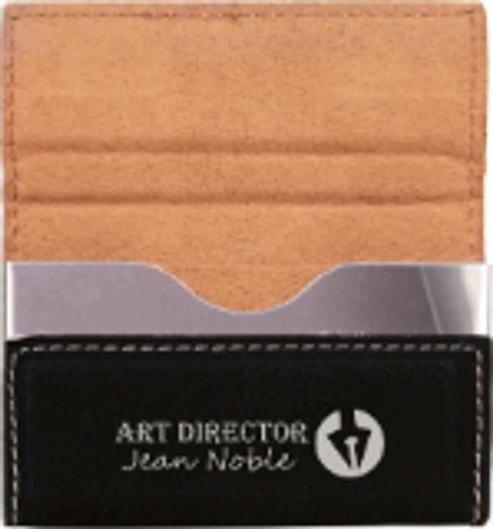 Black/Silver Laserable Leatherette Hard Business Card Holder