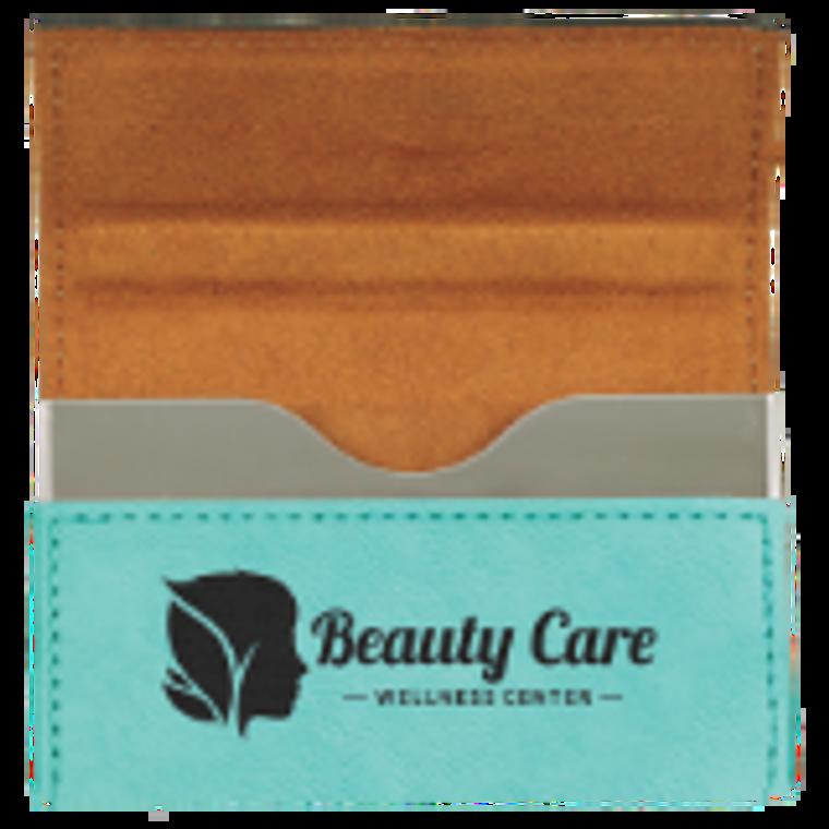 Teal  Leatherette Hard Business Card Holder