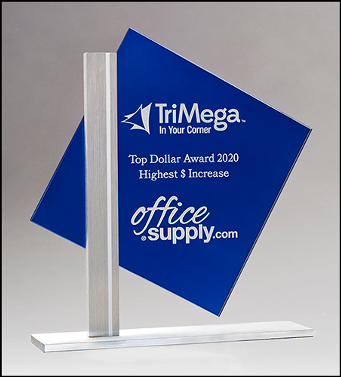 Diamond Series Blue Silk Screened Glass with Brushed Aluminum Post and Base