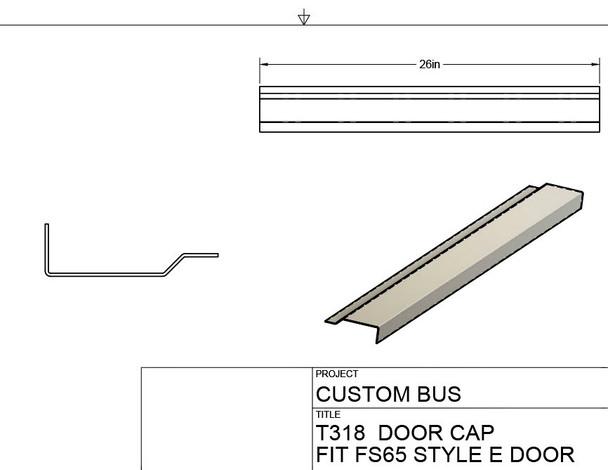 T318, Custom Bus E Door Repair Cap with Window