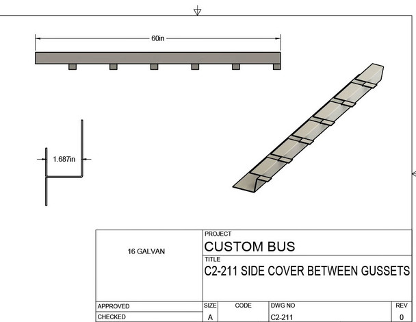 "C2-211, Custom Bus Outer Frame Rail repair.  60"" L  X  1 11/16"" W"