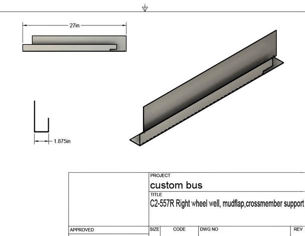 C2-557R, Custom Bus Crossmember/Mud flap repair support