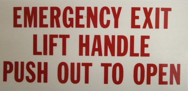 SB205FA, Garman Decal Emergency Exit Lift Handle Push Out To Open (Face Adhesive)