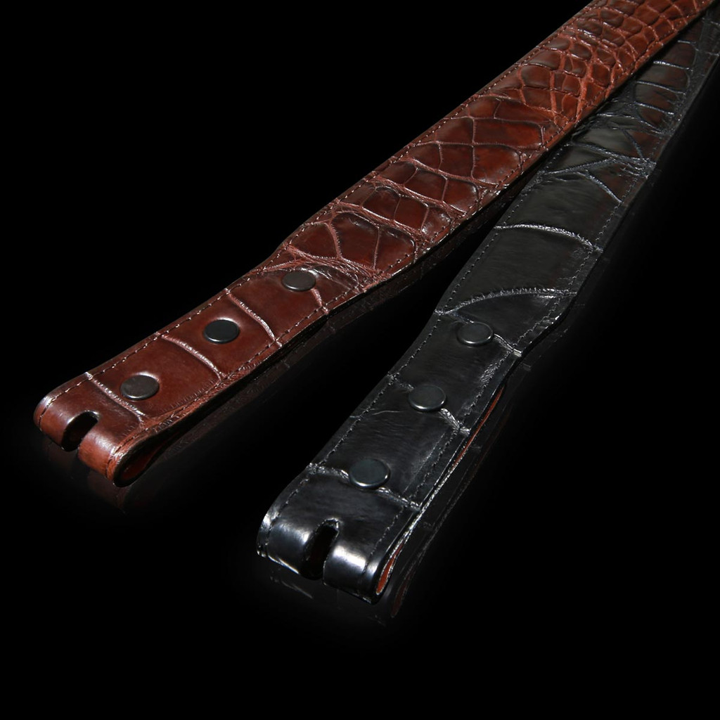 Alligator Belt, Matte 1 1/4 inch Tapered to 1 inch