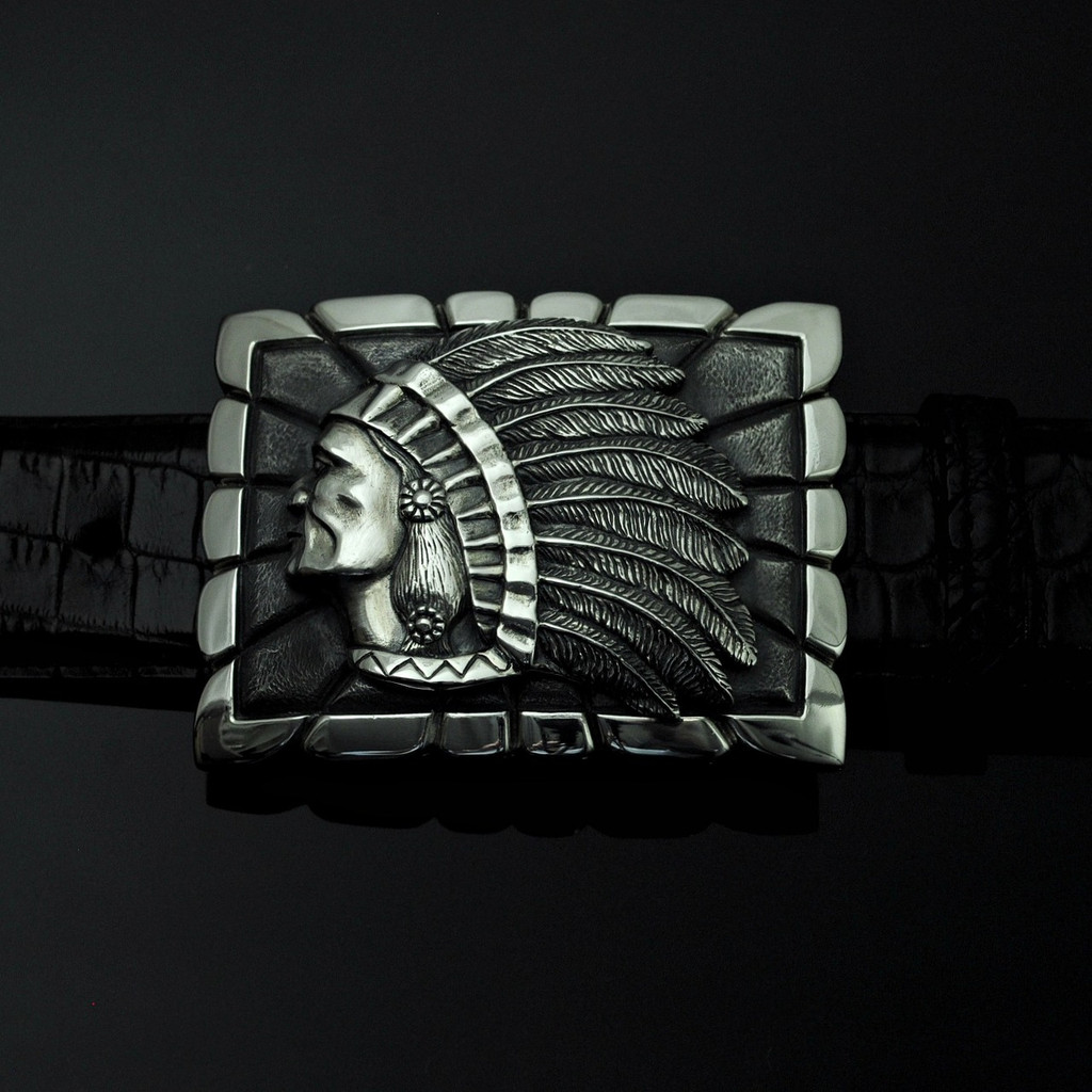 """Sterling Silver 1 1/2"""" Chief Buckle"""