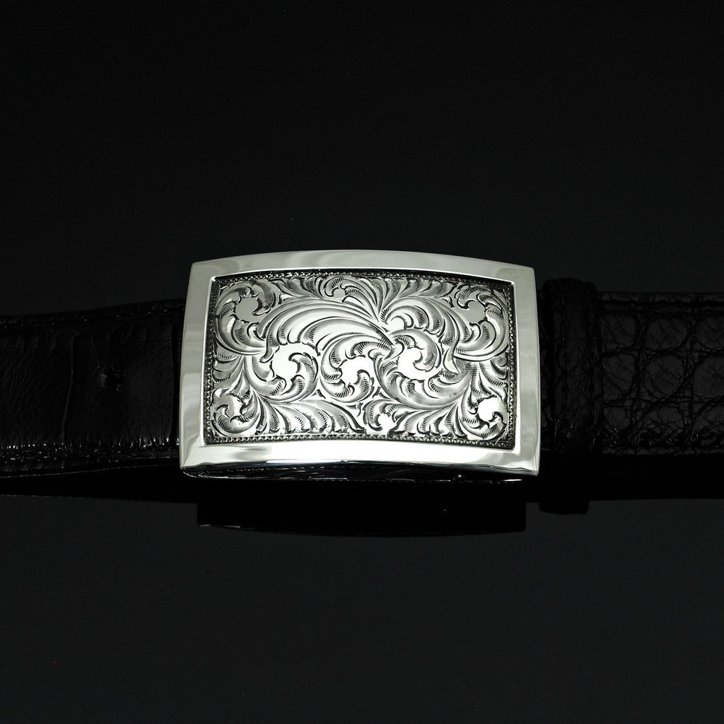 """Engraved Sterling Silver Buckle with Polish Border 1 1/2"""""""