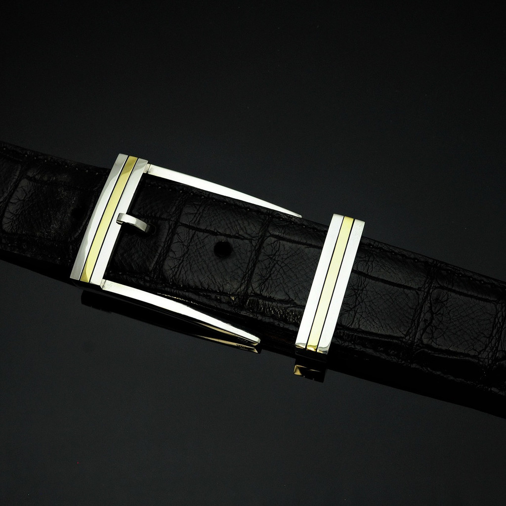 """Sterling Silver & 18K Gold 1 1/2"""" Buckle Set-Special Order Only"""