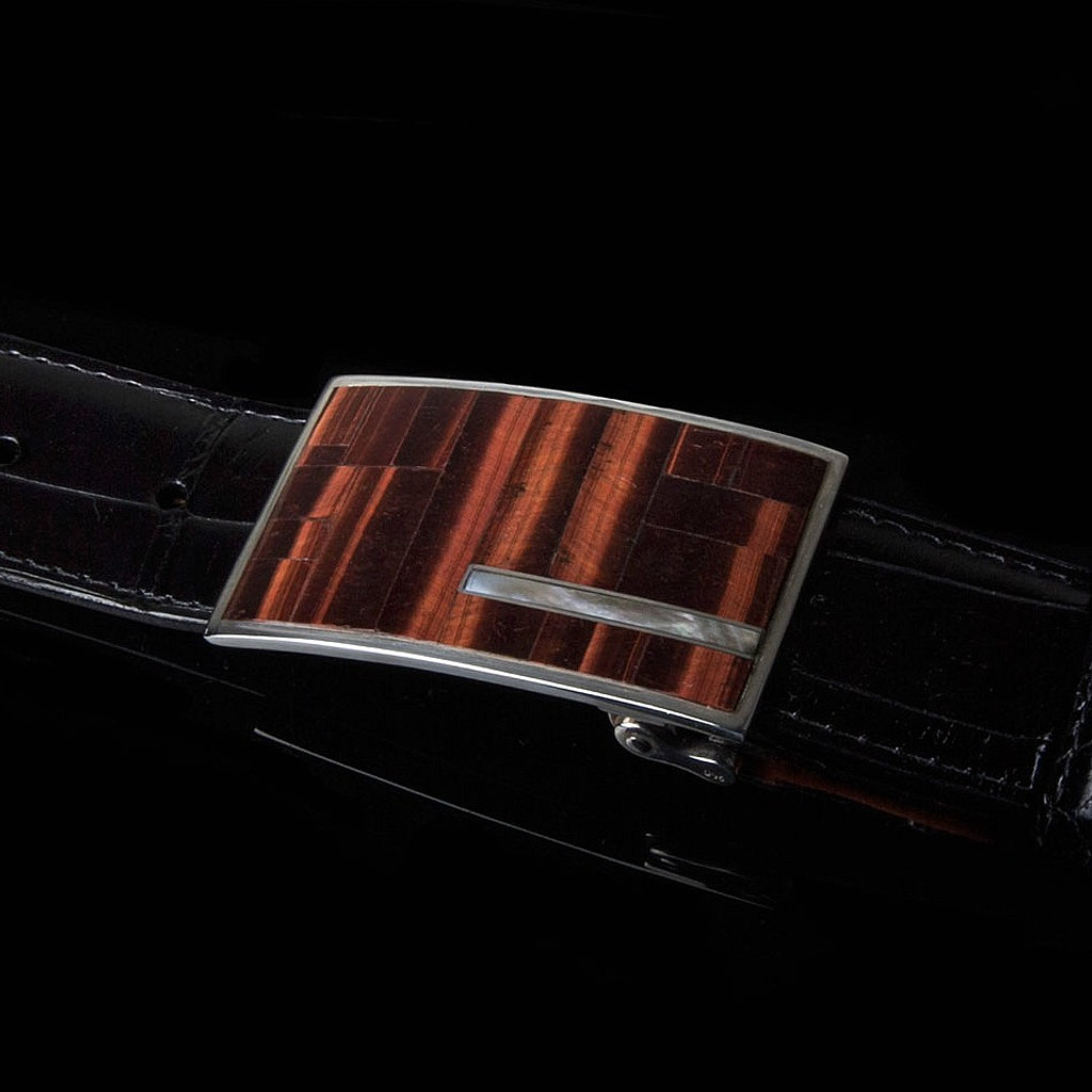 STERLING SILVER BUCKLE WITH RED TIGER EYE STONE