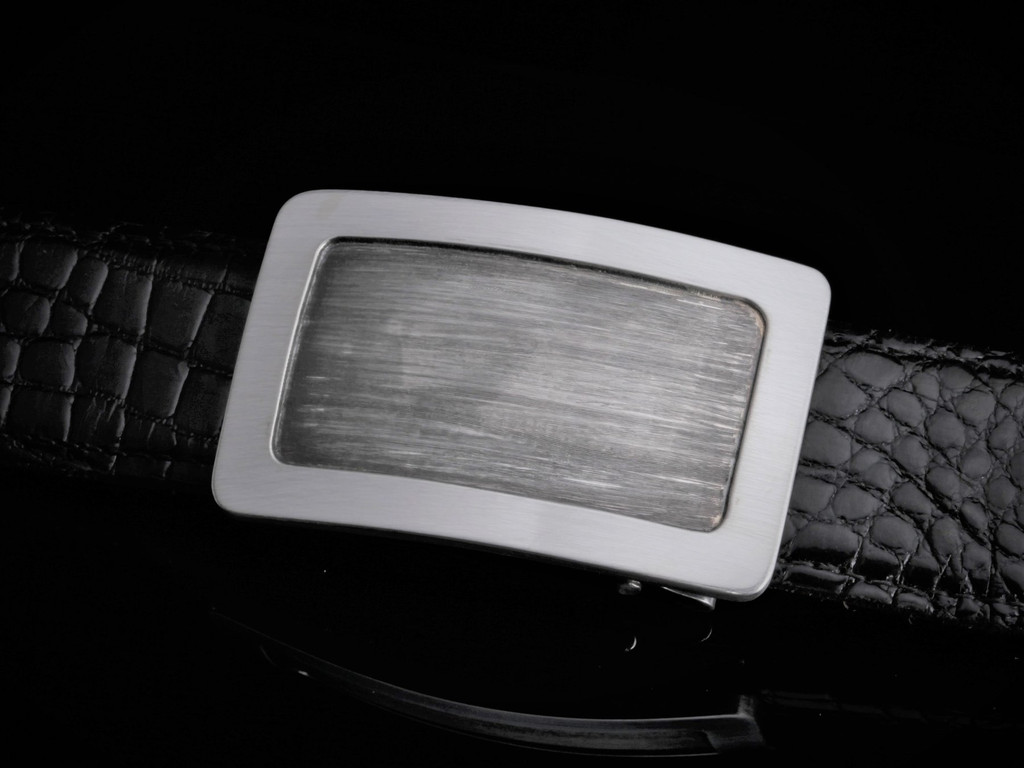 Handmade Sterling Silver Buckle with Brushed Engraving & Polish Border
