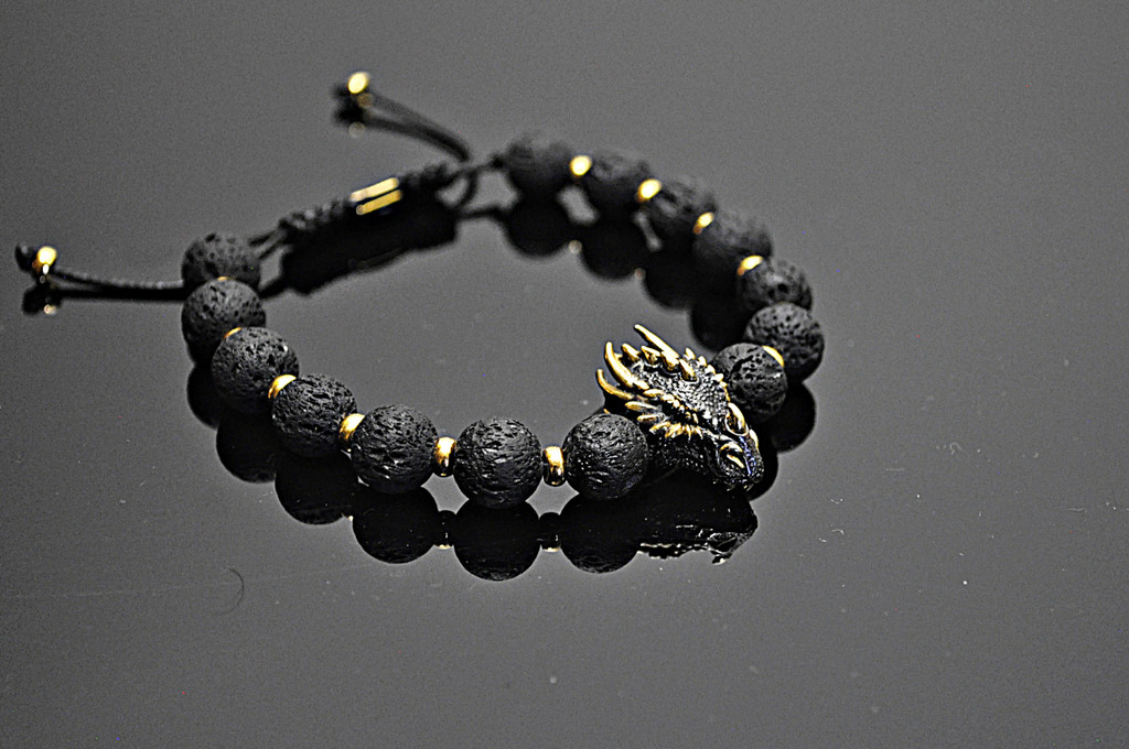 Lava Beaded Bracelet with Rhodium Plated Sterling & 14K Gold Dragon