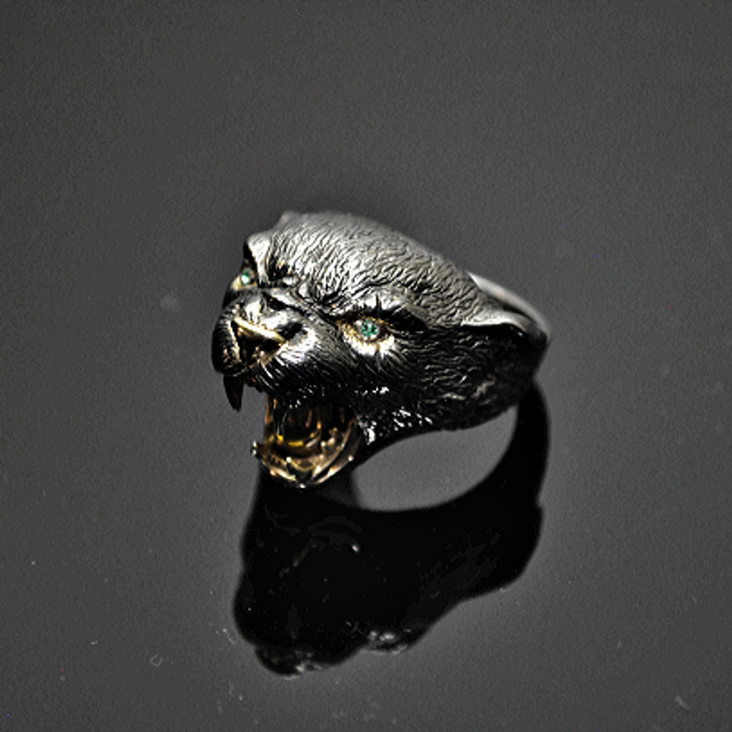 Sterling Silver Panther Ring with 14K Gold & Emerald Eyes-10.5