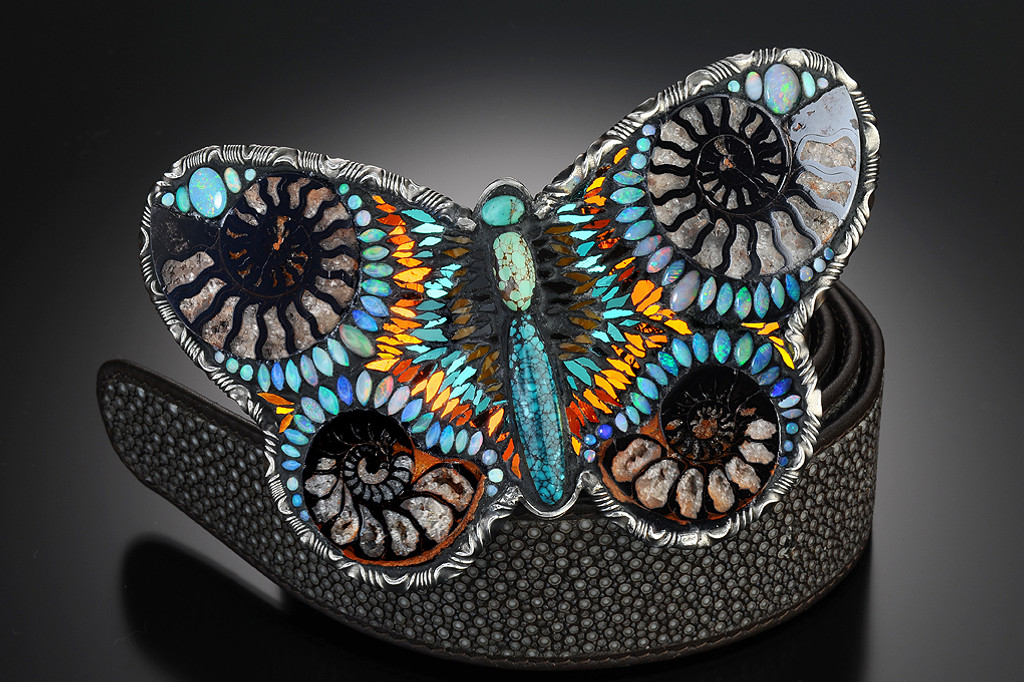 Multi Color Butterfly with Nautilus Shells, Swarovski Crystals & Opals