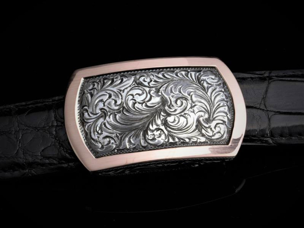 HAND ENGRAVED STERLING SILVER WITH 14K GOLD BORDER BUCKLE