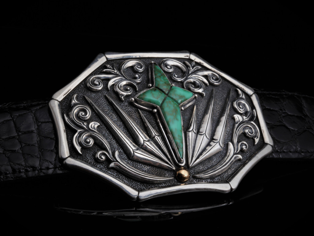 Sterling Buckle with Turquoise Northern Star