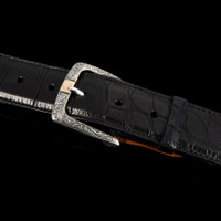 """Sterling Silver Buckle with Hand Engraving & 14K Gold Center Bar for 1.5"""" Belts"""