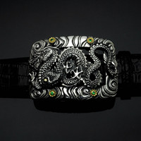 "Handmade Sterling Silver 1 1/2"" Dragon Buckle with 18K Flowers & Tsavorites-Special Order"