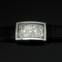 Engraved Sterling Silver Buckle with Polish Border 1 1/2""
