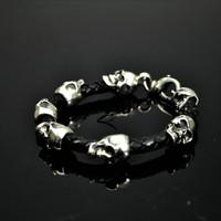 Sterling Silver & Braided Leather Skull Bracelet