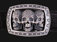 Sterling Silver Triple Skull Buckle