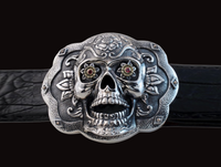 Sterling Silver & Gold Sugar Skull Buckle with Ruby Eyes