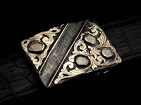 Sterling, Gold & Diamond Buckle