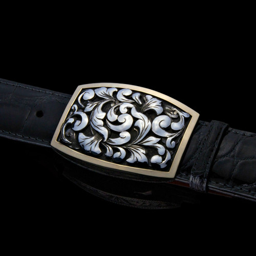 """Handmade Sterling Silver 1 1/2"""" Buckle with 3D Sterling Swirl Overlays & 14K Border"""