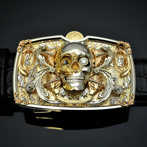 Solid 18K Yellow & White Gold Skull Buckle - SOLD