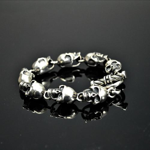 Sterling Silver Skull Link Bracelet