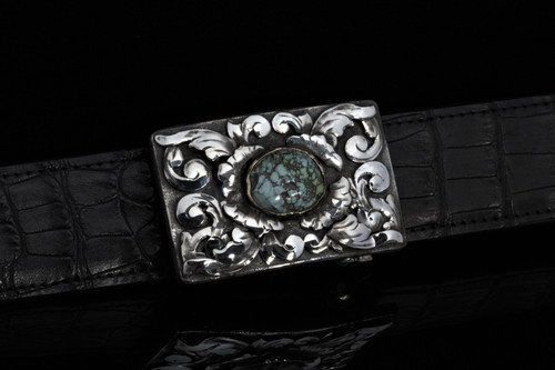 Sterling Silver Buckle with 3D Overlays and Turquoise Centerpiece