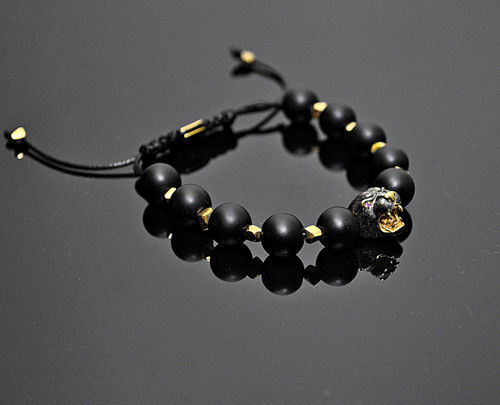 Panther Bracelet Made of Sterling Silver, 14K & Onyx Beads