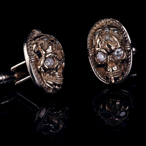 Gold Cuff Links made of Yellow & White 18K Skulls with Diamonds