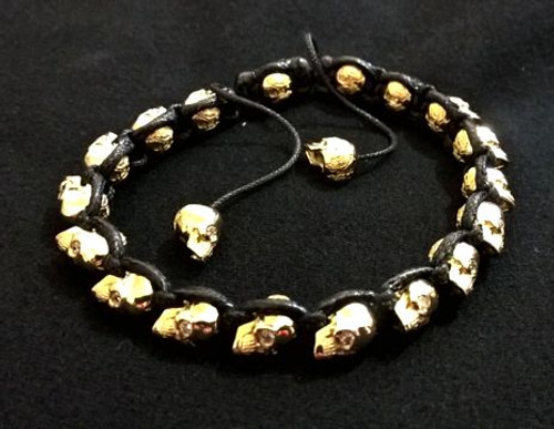 18K Gold & Leather Braided Skull Bracelet-S