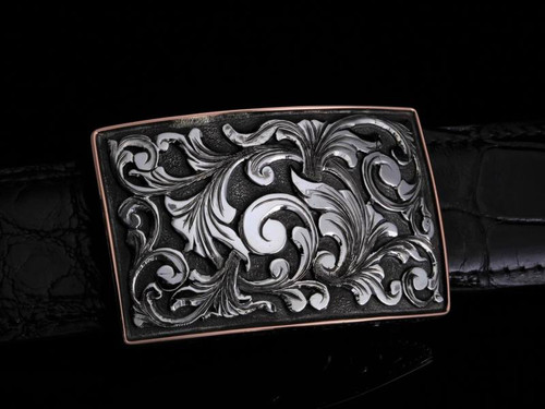 HAND MADE BUCKLE WITH STERLING SILVER OVERLAYS & 14K GOLD WIRE BORDER