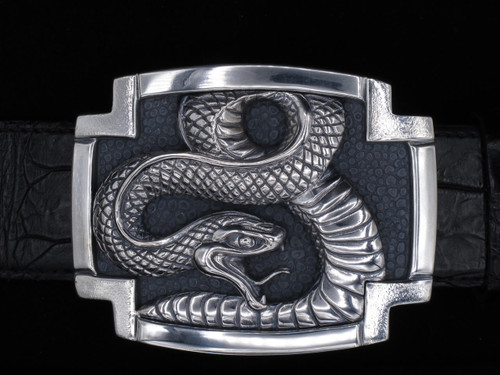 Sterling Silver Coiled Snake Buckle