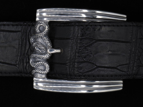 Sterling Silver Belt Buckle with Coiled Snake