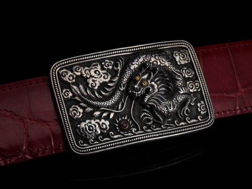 Sterling Silver Buckle with Hand Carved Dragon