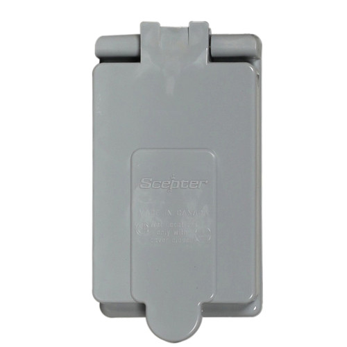 Double Ground Fault Weatherproof PVC Receptacle Cover, 15 A, 4.9 in L x 2.85 in W x 0.63 in Deep