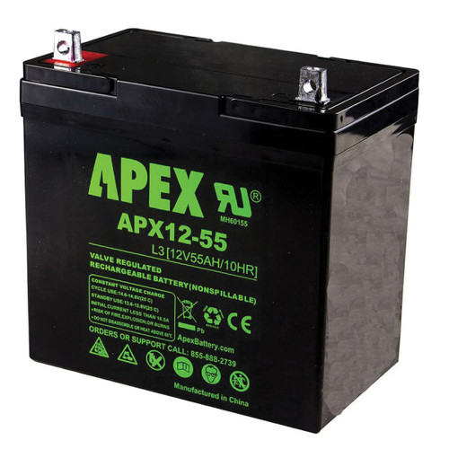 12 Volt Battery Deep Cycle Replacement Rechargeable Battery, Sealed Lead Acid, 55 Ah, for Boar Cart